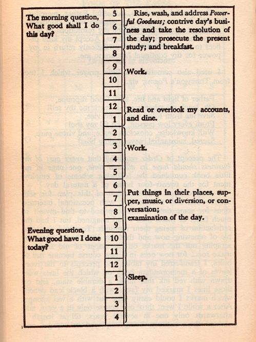 Benjamin-Franklin-schedule